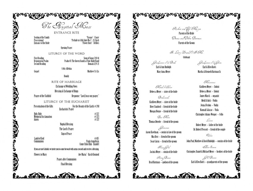 Jared & Steph - Wedding Program